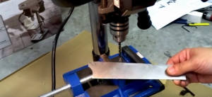 Picture of drill press vise being used