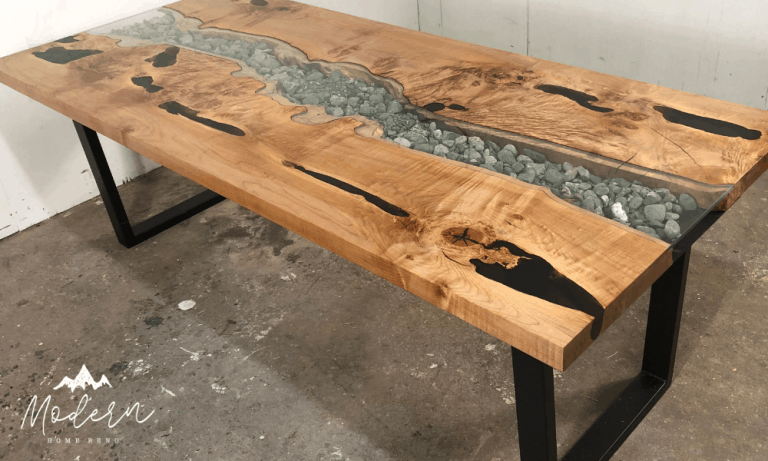 How to build a live edge table river style dining table DIY ModernHomeReno.com