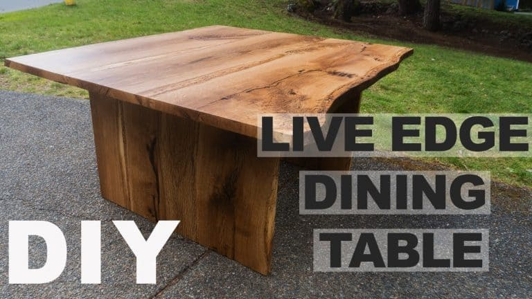 live edge dining table DIY white oak fire pit