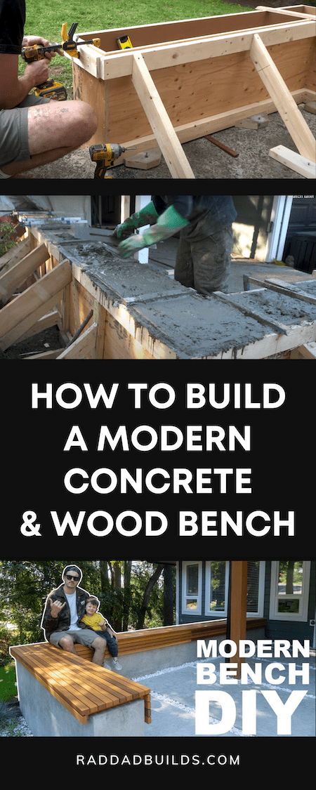 How To Build A Modern Concrete And Wood Bench DIY