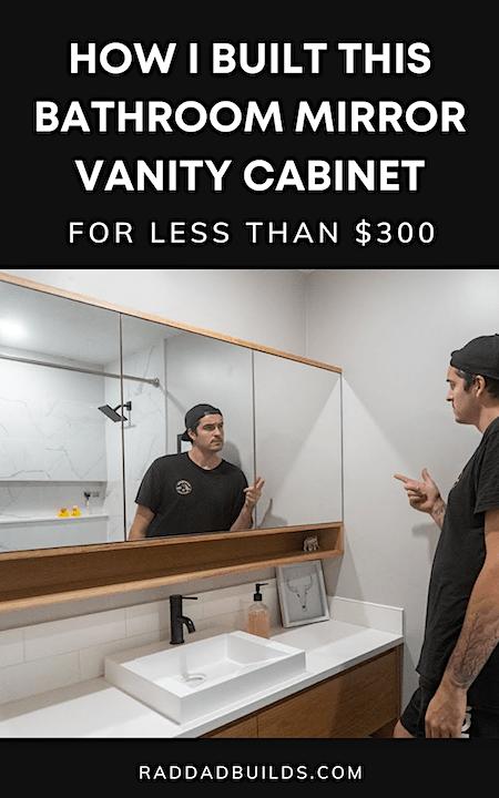 Modern Bathroom White Oak Mirror Vanity Cabinet DIY Tutorial