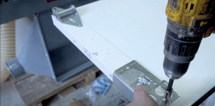 attaching hardware to the bottom panel
