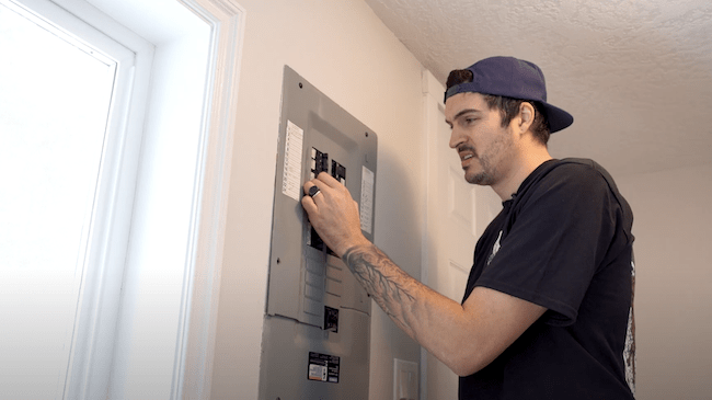 Turning off the breaker before the starting the install of the new fan