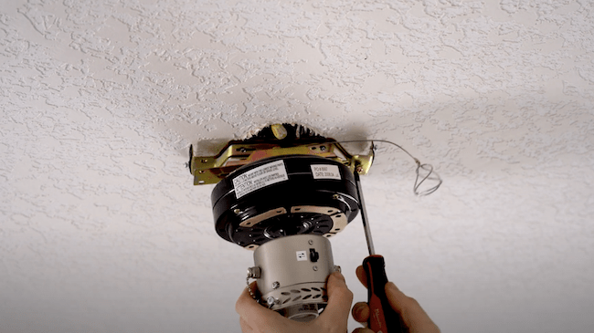 Removing the existing ceiling fan